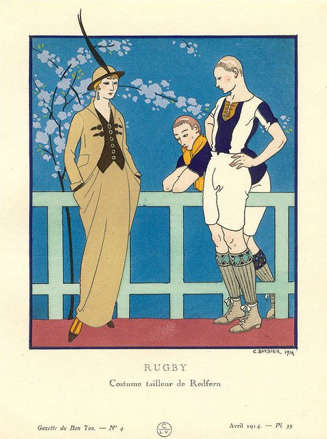1914 Rugby outfits art nouveau for Redfern Tailor