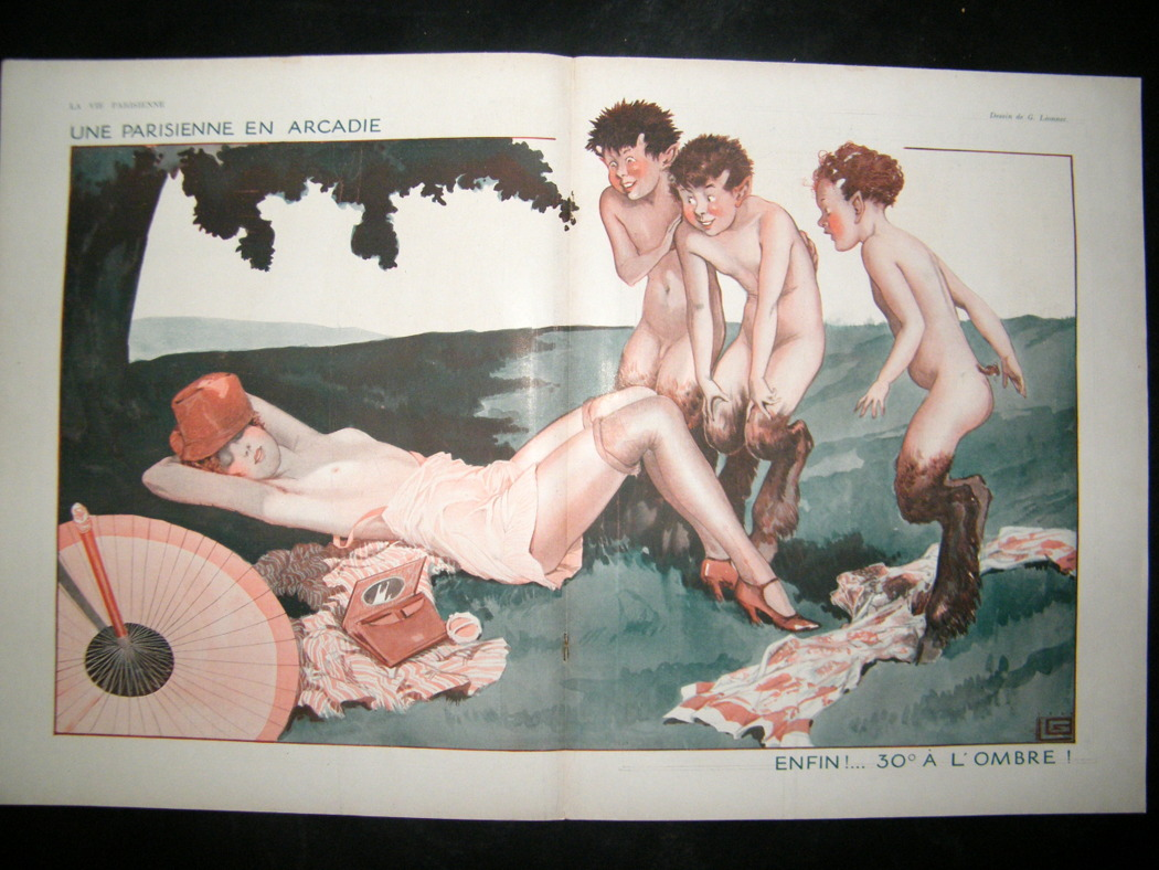 Semi-nude Parisian woman and Pan Boys