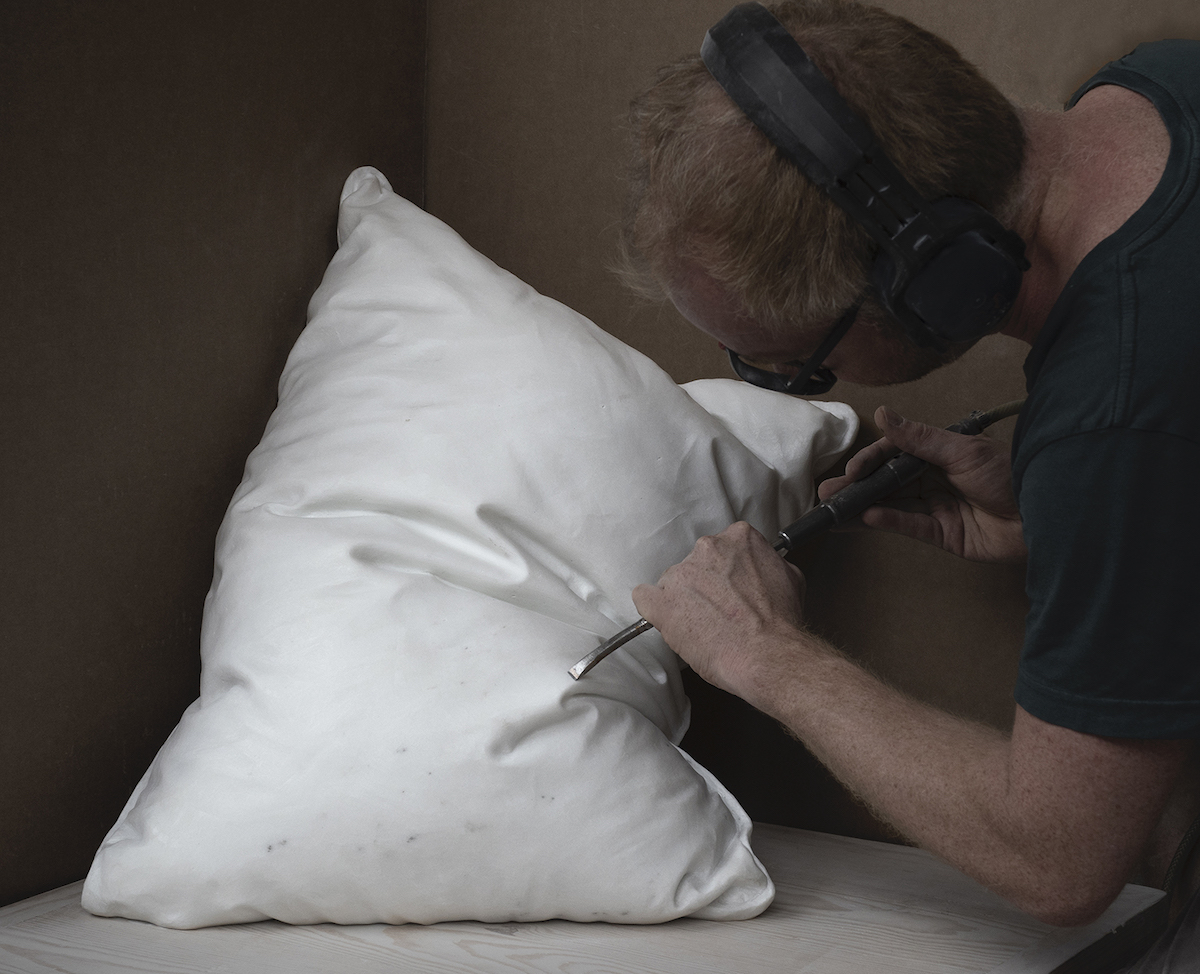 Realistic Pillows Sculpted from Blocks of White Marble by Håkon Anton Fagerås