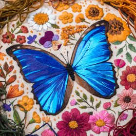 Magical Butterflies and Insects Stitched in Dense Thread Paintings by Emillie Ferris