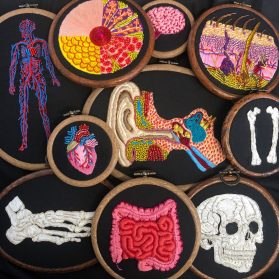 Precise Images of Human Anatomy Deftly Rendered in Punch Needly by Amber Griffiths