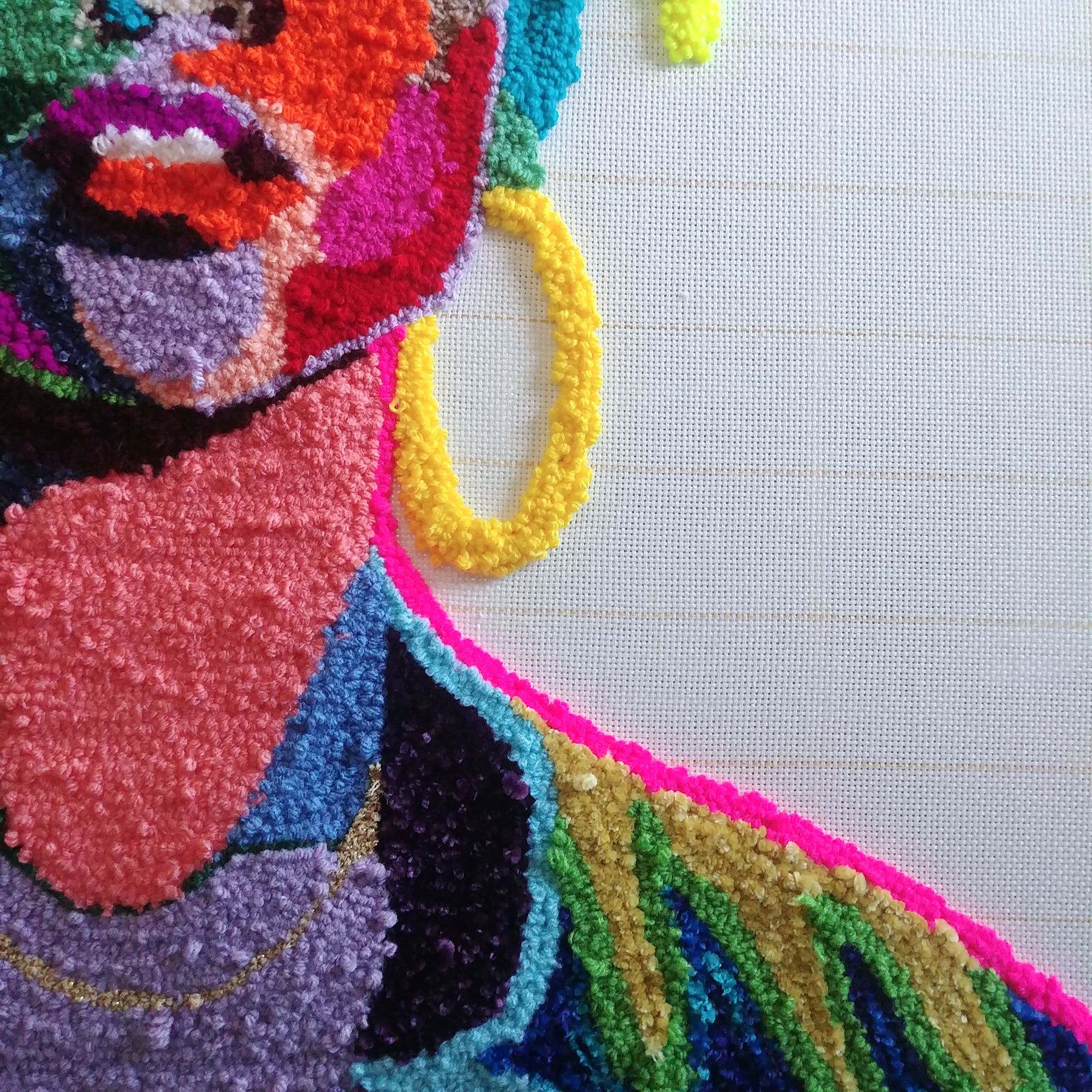 Hand-Tufted Patches of Color Form Lush Fiber Portraits by Artist Simone Saunders