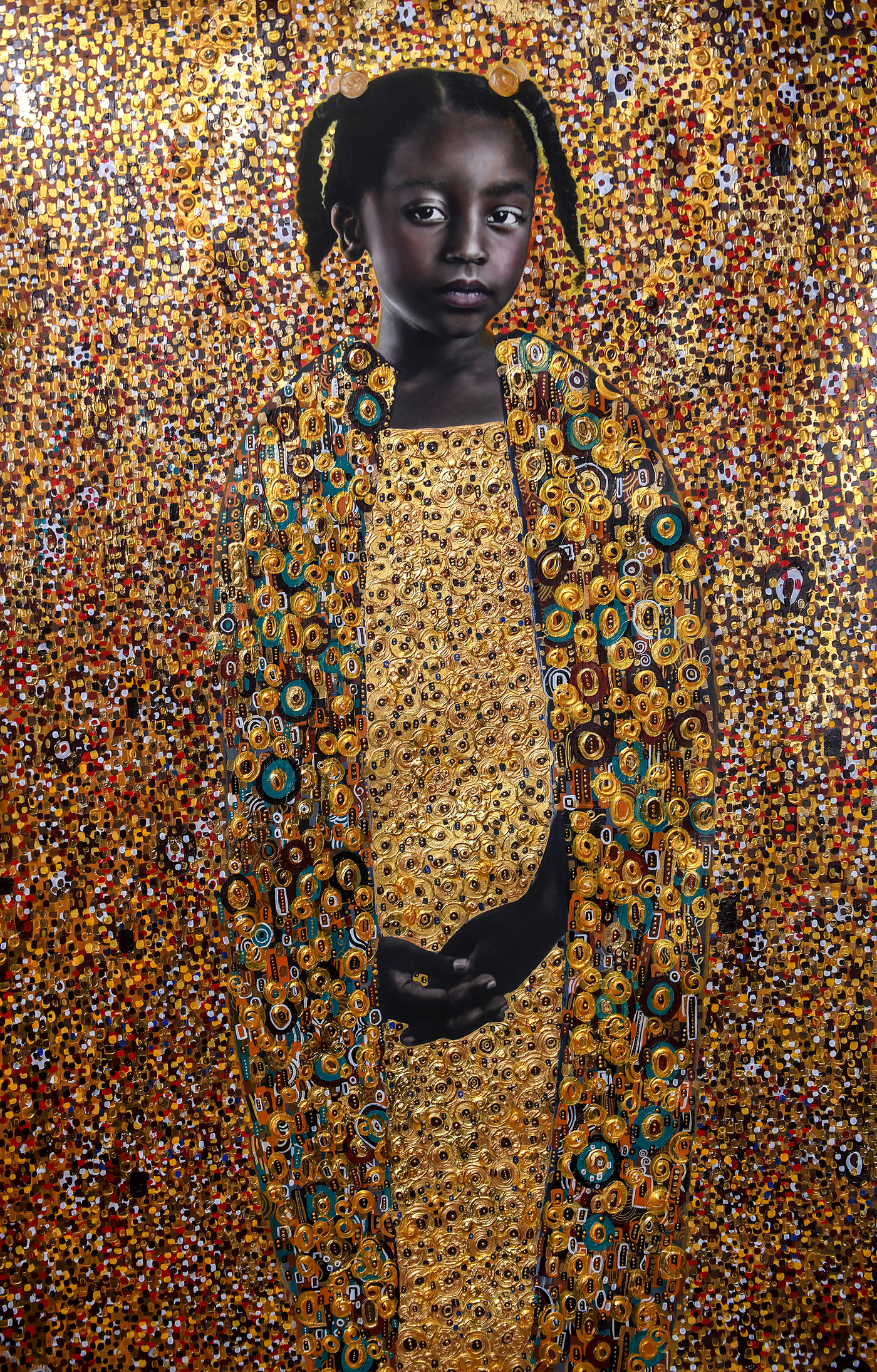 Striking Portraits by Artist Tawny Chatmon Embellished with Gold Garments and Ornate Backdrops