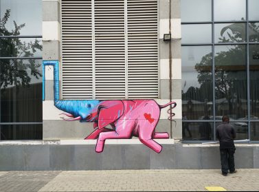 Bright Elephants Squeeze Into Their Surroundings in Site-Specific Murals by Artist Falko One