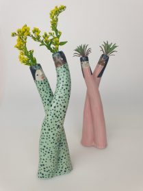 Quirky Characters Anthropomorphize Patterned, Pastel Vases by Ceramicist Sandra Apperloo