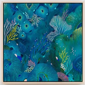 Antidote: Organic Lifeforms Rendered with Prussian Blue Create Vivid Ecosystems by Yellena James