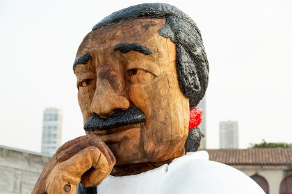 An Oversized Statue of Leonard Peltier, an American Indian Activist, Pensively Stares Toward Alcatraz