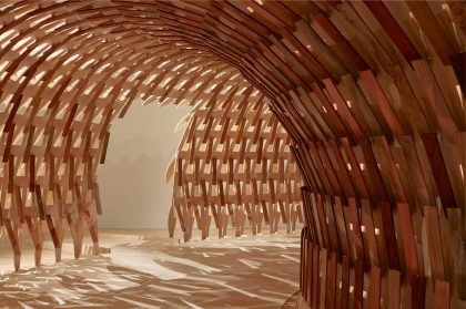A Curved Pavilion Designed by Kengo Kuma Weaves Wooden Slats into a Tessellating Structure