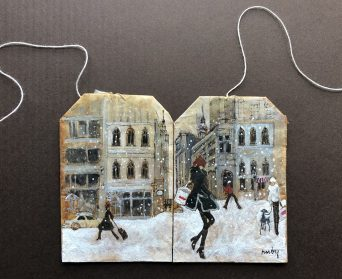 Minuscule Scenes Appear Against the Backdrop of Used Tea Bags in Watercolor Paintings by Ruby Silvious