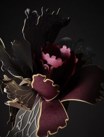 A Dramatic Bouquet of Paper Flowers Interprets an Ornate Pattern in Three-Dimensions