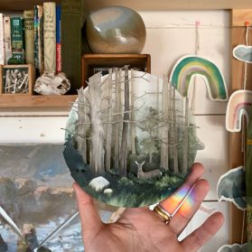 Delightful Nighttime Landscapes Nestle into Stacked Wooden Boxes in Allison May Kiphuth's Dioramas