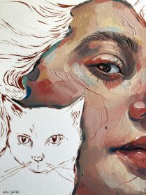 Expressive Portraits, Line Drawings, and Foliage Are Superimposed into Rich Illustrations by Ana Santos