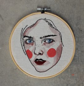 Varied Patches of Color and Textured Stitches Delineate Expressive Embroidered Portraits