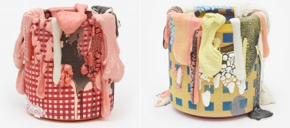 Technicolor Chunks and Drips Trickle Down Textured Ceramic Vessels Sculpted by Brian Rochefort