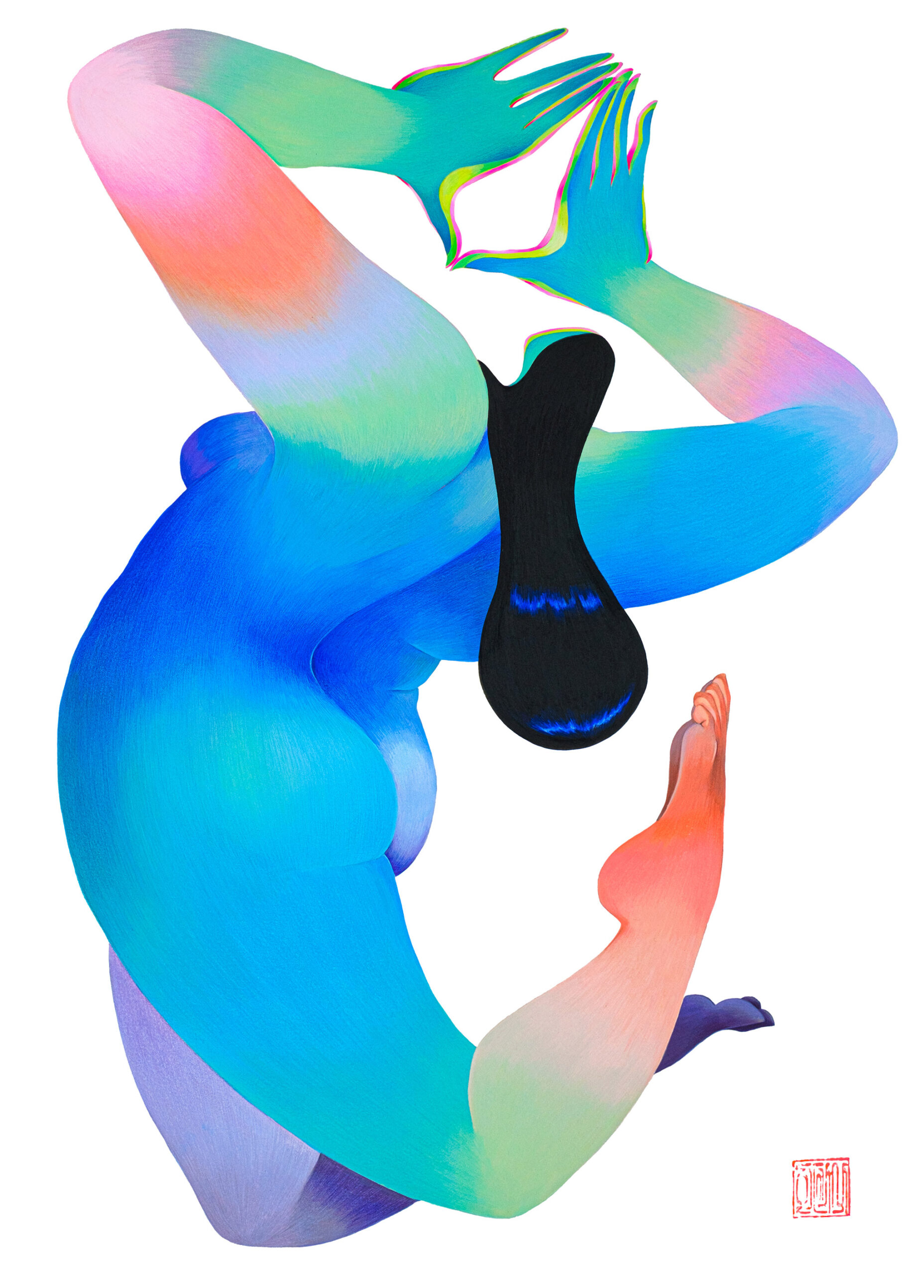 Posed Women Rendered in Vibrant Gradients by Hanna Lee Joshi Embody Loss and Acceptance