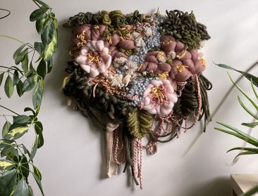 Fiber-Based Wall Hangings Blend Weaving, Macramé, and Crochet into Striking Bouquets
